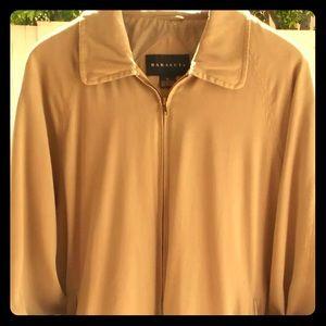 Baracuta XL Beige Full Zip Jacket Silk Windbreaker